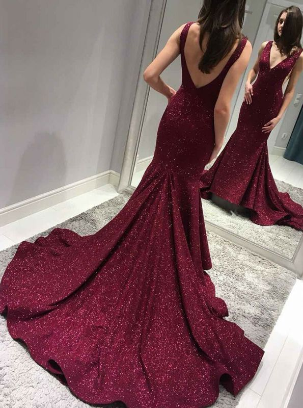 Burgundy sequins prom dress, long mermaid formal gowns BA8313