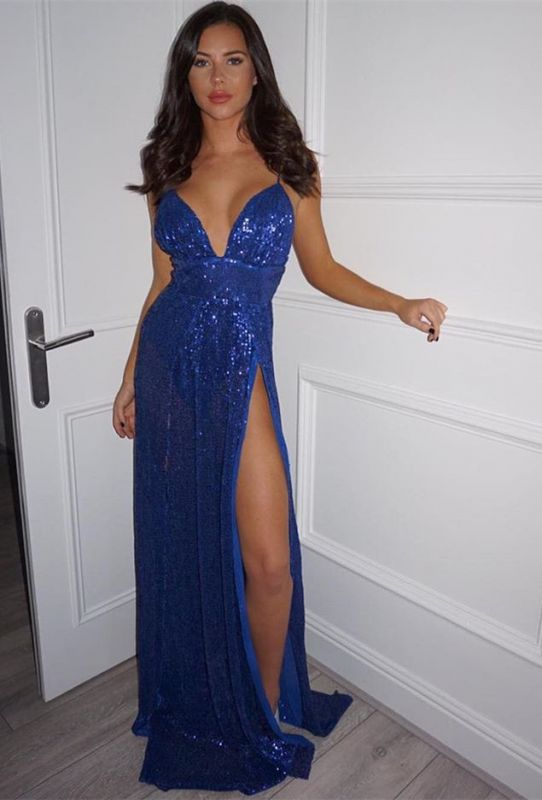 Elegant V-Neck Royal Blue Prom Dress | 2020 Sequins Evening Gowns With Slit BC0642