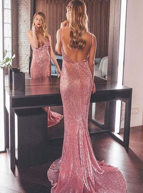 Gorgeous Sequins Evening Dress   2020 Backless Mermaid Prom Gowns
