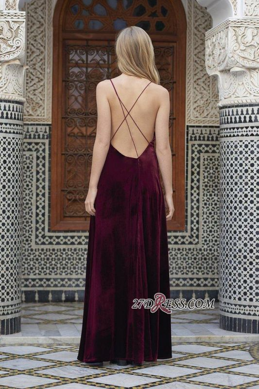 2020 Side-Slit Velvet Maroon Sexy Spaghettis-Straps A-line Evening Dress