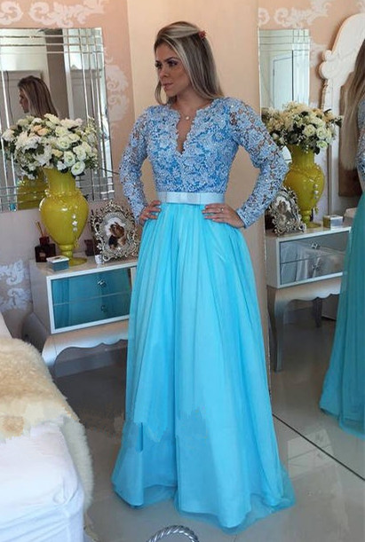 Modest Lace V-neck Long Sleeve Evening Dress | Long Party Gown BMT