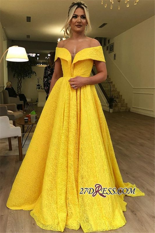 Yellow Off The Shoulder Evening Dresses | Cheap Strapless A-Line Lace Prom Dresses