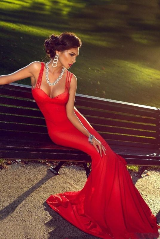 Sexy Red Mermaid Straps 2020 Prom Dress Sweep Train Sleevless Sweetheart