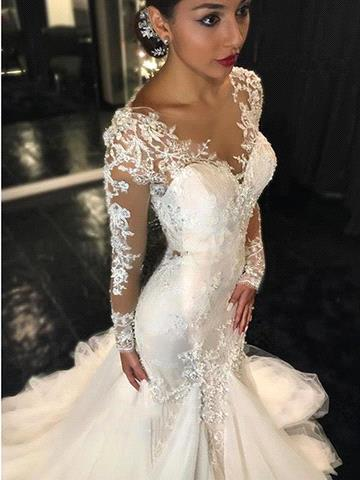 Glamorous Long Sleeve Lace 2020 Wedding Dress Tulle Mermaid Zipper Button Back