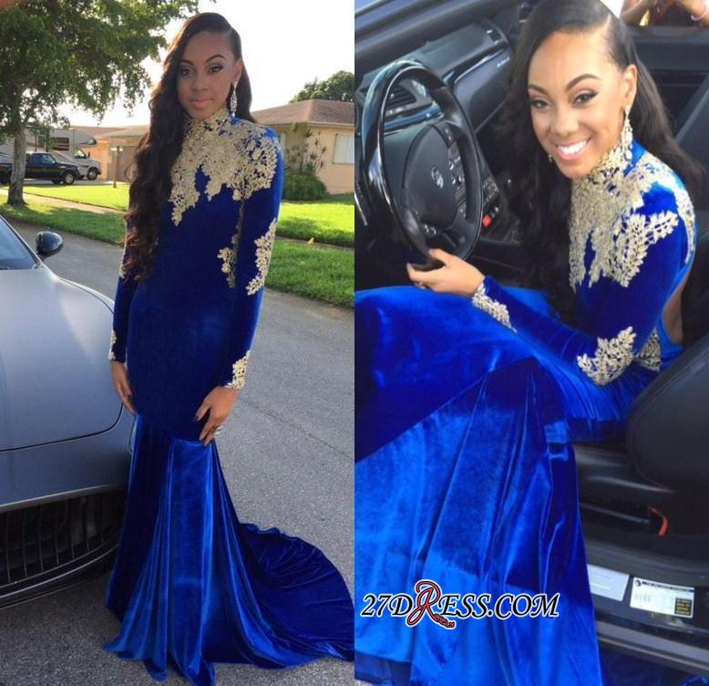 2020 Appliques Elegant Royal-Blue Mermaid High-Neck Long-Sleeves Prom Dress BK0 BC2061
