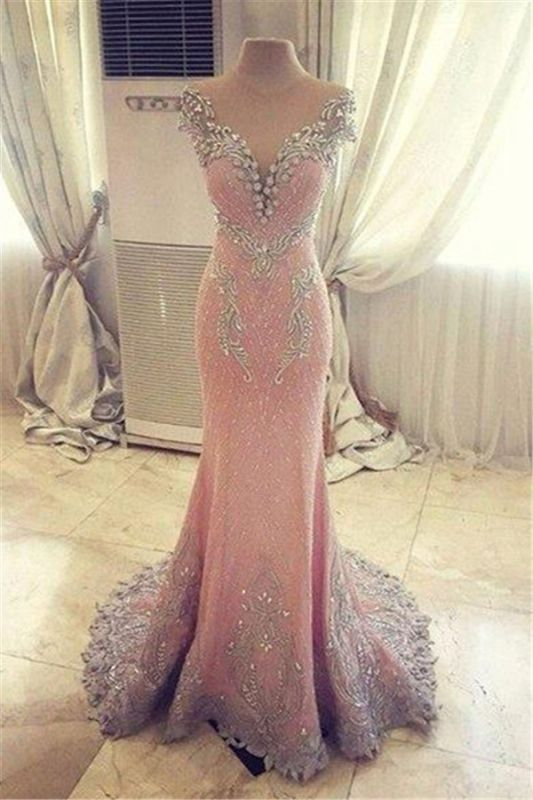 Luxurious Crystal Pink Mermaid Evening Dress 2020 Zipper Button Back