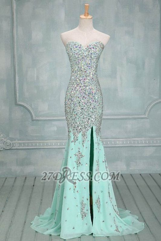 Sweetheart Sleeveless Long Chiffon Evening Dress With Beadings and Crystals