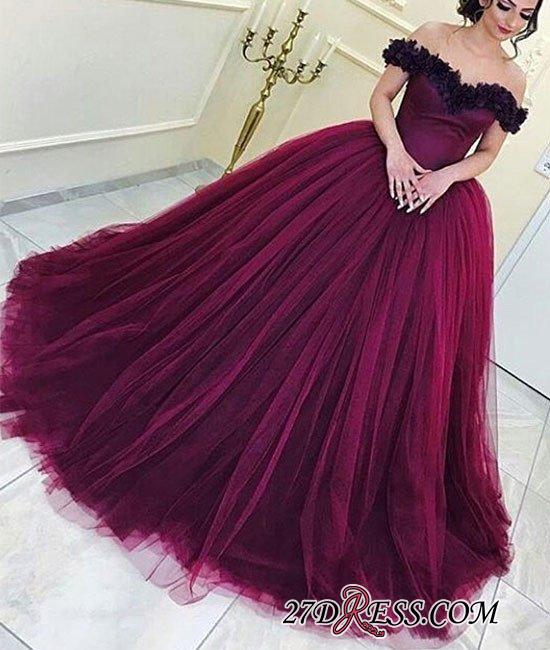 Long Sleeveless Ball-Gown Off-the-Shoulder Tulle Appliques Prom Dresses