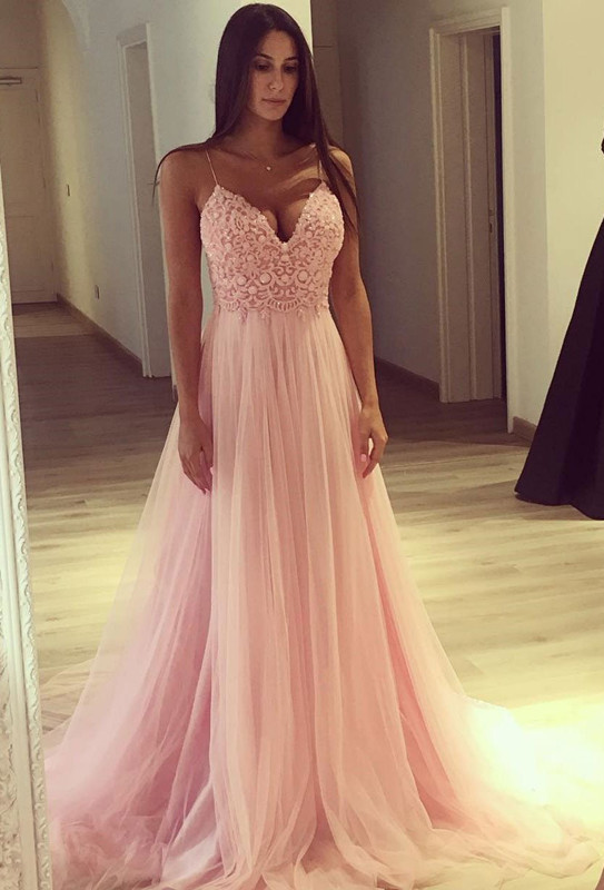 Spaghetti Strap V-Neck Pink 2020 Prom Dress Long Tulle Party Gowns BA7939