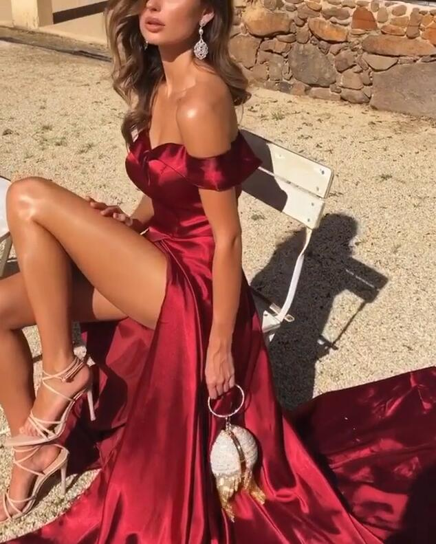 Gorgeous Off-the-Shoulder Prom Dresses   2020 Burgundy Long Evening Gowns With Slit BC0690