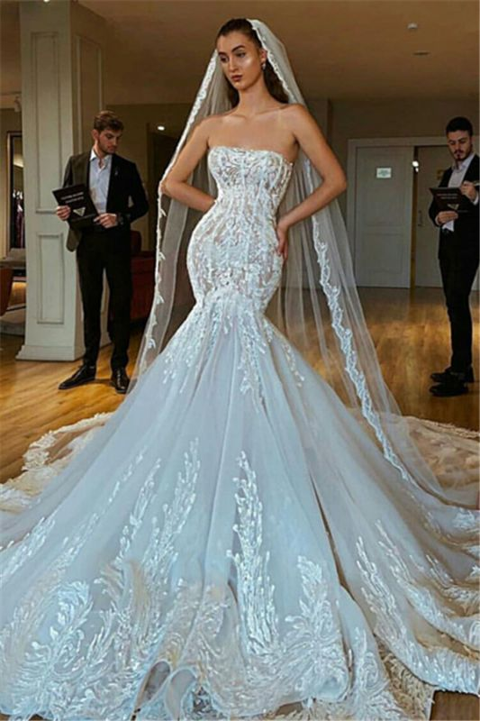 Sexy Strapless Mermaid Wedding Dresses Puffy Appliques Bridal Gowns