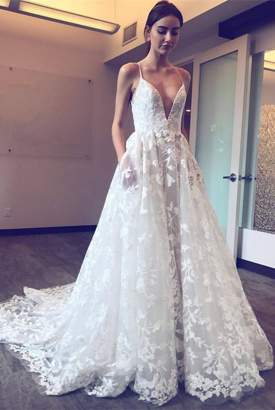 Gorgeous Spaghetti-Straps Lace Wedding Dresses | 2020 V-Neck Long Bridal Gowns