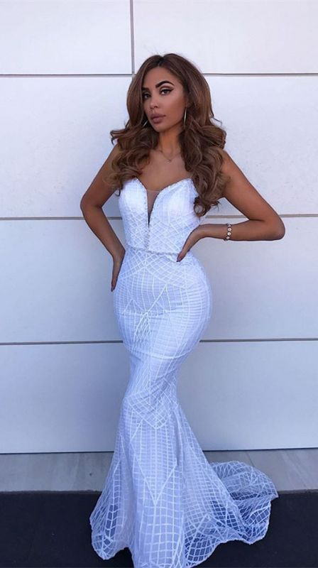 Sexy Spaghetti Straps Backless Evening Gowns | Mermaid Floor Length Prom Dress