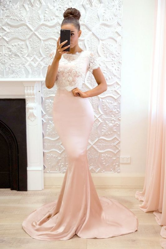 Gorgeous Short-Sleeve 2020 Prom Dress | Lace Mermaid Bridesmaid Dress On Sale