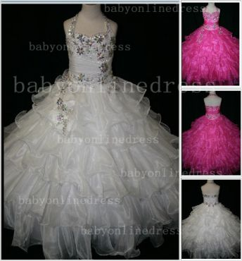 Beaded Cheap Pageant Dresses for Girls Very Online 2020 Crystal Organza Floor-length Gowns Stores