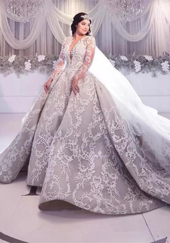 Gorgeous Long Sleeve Lace Wedding Dress | 2020 Princess Bridal Gowns