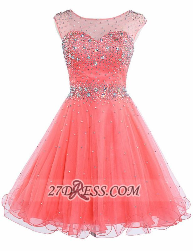 Lovely Illusion Cap Sleeve Short Homecoming Dress Beadings Crystals Zipper Cocktail Gown