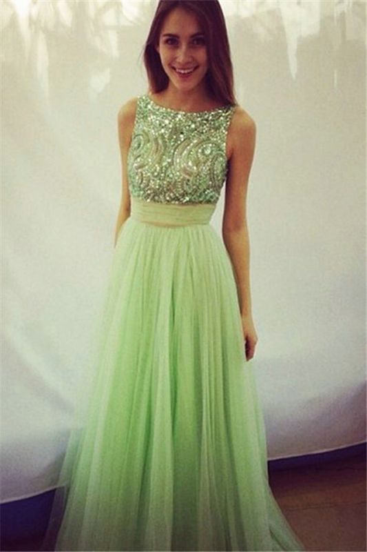 Delicate Crystals Tulle 2020 Prom Dress Bowknot A-line