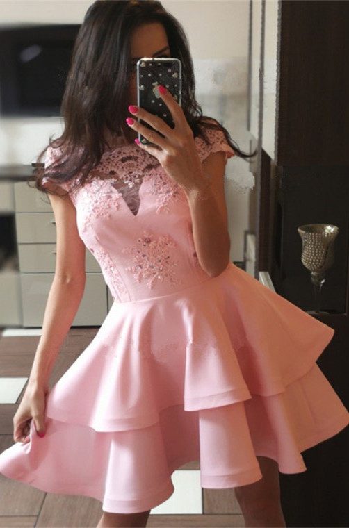 Pink Cap Sleeve 2020 Homecoming Dress | Lace Layers Sort Party Dress
