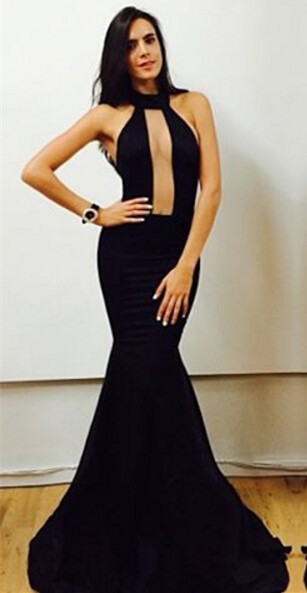 Sexy Black High-Neck Mermaid Prom Dresses 2020 Floor Length Evening Gowns