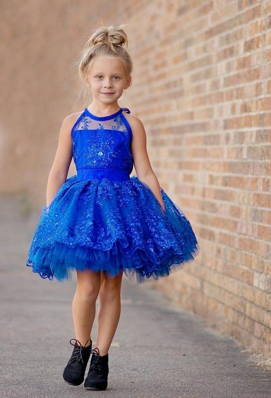 Newest Royal Blue Lace Appliques 2020 Flower Girl Dress Halter Puffy Mini