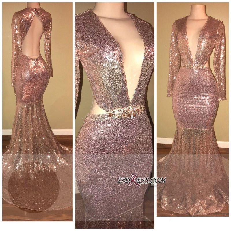 Sequined V-neck Gorgeous Mermaid Backless Long-Sleeve Prom Dress SP0295