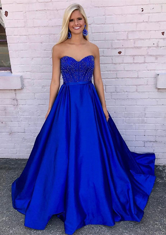 Elegant Royal Blue 2020 Evening Dress A-Line With Beadings
