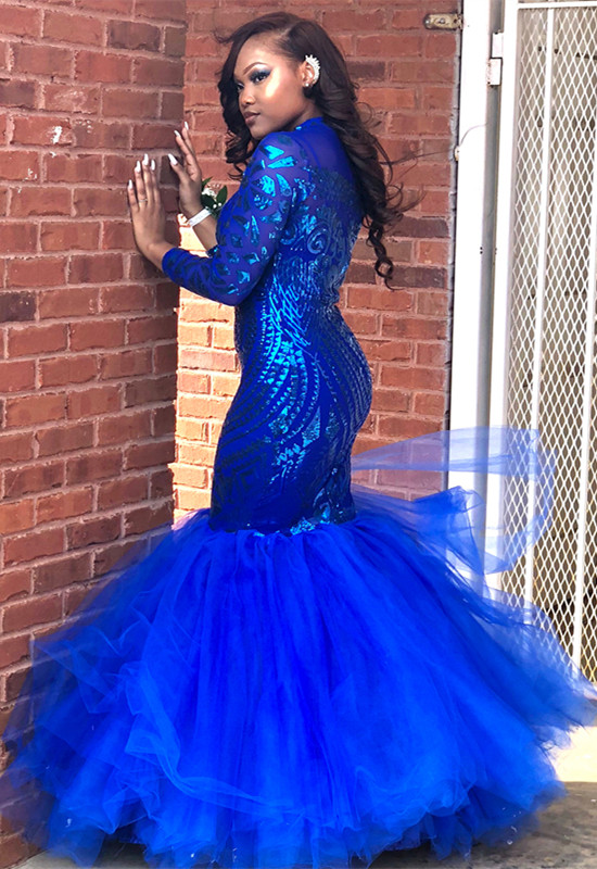 Royal-Blue Mermaid Prom Dress | Long Sleeve Sequins Party Gowns BK0
