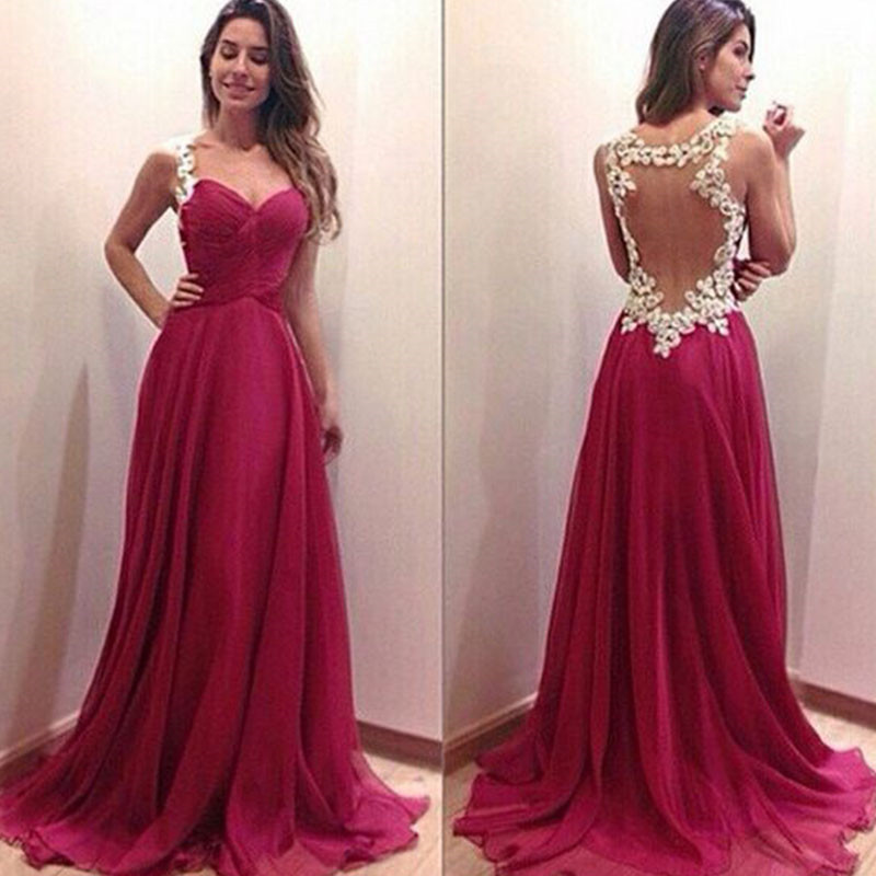 Modern Sweetheart Sleeveless Chiffon Prom Dress Spaghetti Strap Floor-length With Appliques