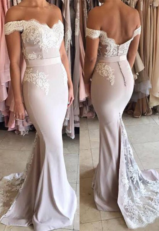 Glamorous Off-the-Shoulder Lace Mermaid 2020 Prom Dress Zipper Button Back