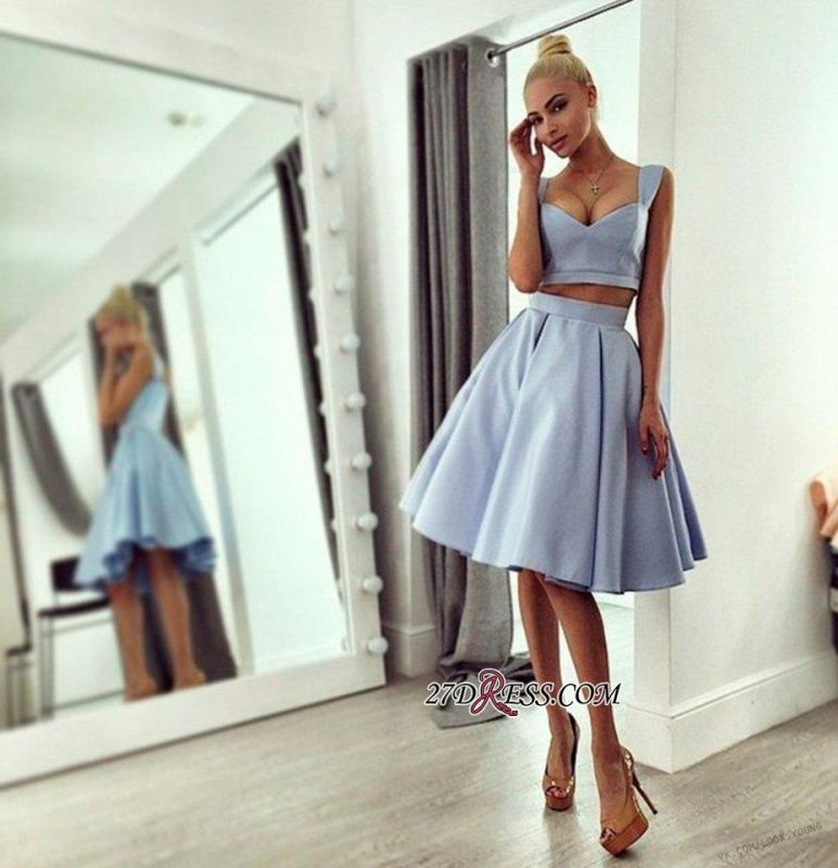 Chic Ball-Gown Knee-length Straps Light-blue 2020 Prom Dress