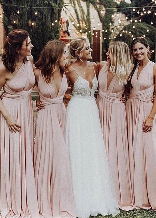 Elegant V-Neck Long Bridesmaid Dresses 2020 Ruched Maid of Honor Dress