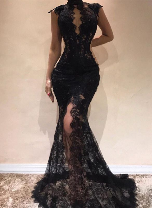 Sexy Black Lace Evening Dresses | 2020 Mermaid Cap Sleeve Prom Gowns