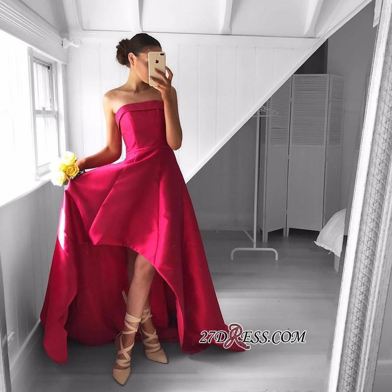 2020 Sleeveless Red Hi-Lo Sweep-Train Newest Strapless Prom Dress