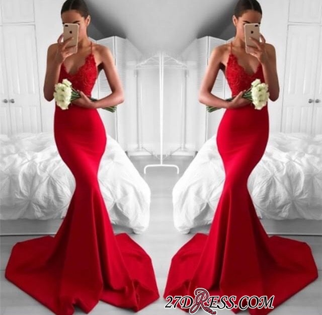 Lace V-Neck Long Red Mermaid Lace Sexy Prom Dress