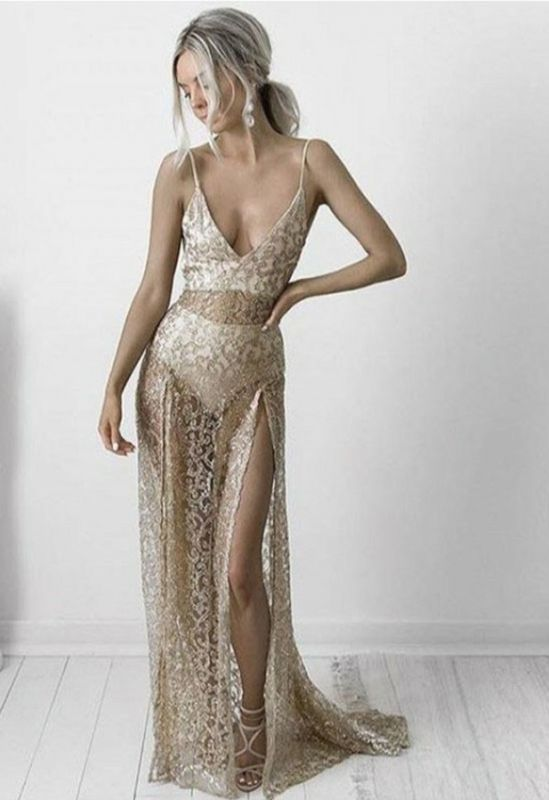 Sexy Sleeveless A-Line Spaghetti Strap Evening Gown | 2020 Backless Front Split Sheer Sequins Prom Dress