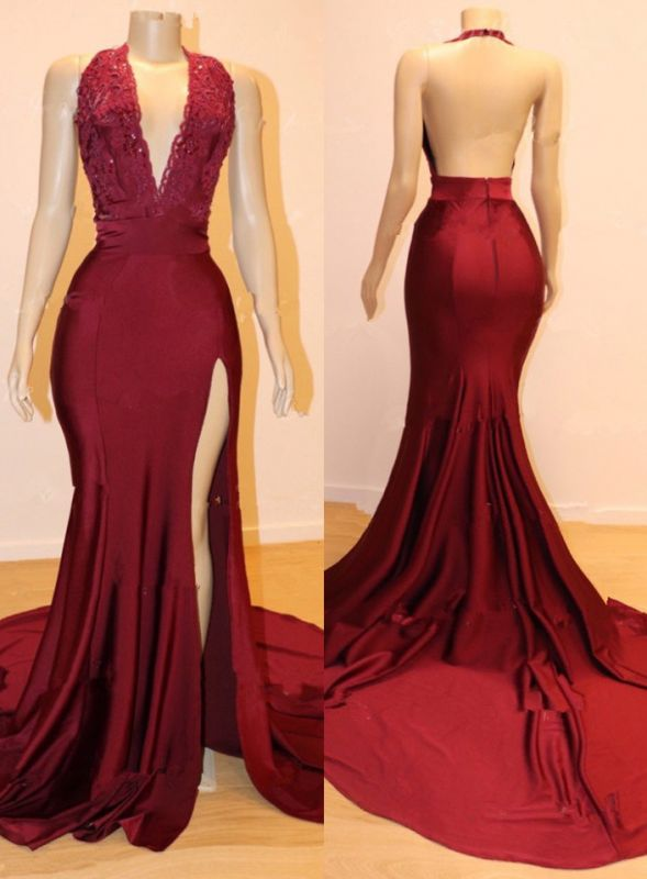 Gorgeous Halter Lace Prom Dress   2020 Mermaid Slit Cheap Evening Gowns