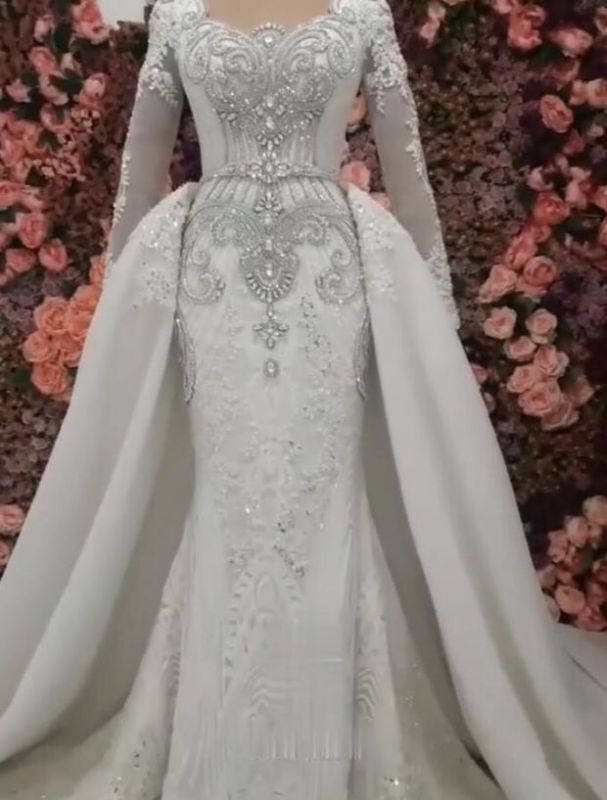 Luxurious Long Sleeves Mermaid Beading Wedding Dress | 2020 Overskirt Lace Appliques Crystals Bridal Gown