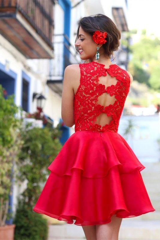 Modern Red Lace 2020 Homecoming Dress Layered Short Prom Dress