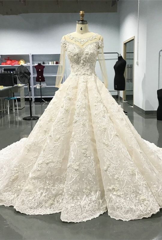 Luxury Long Sleeve Lace Wedding Dresses | 2020 Lace Designer Bridal Gowns