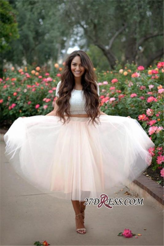 2020 Lace Two-Pieces Tulle Cheap A-line Short-Sleeves Homecoming Dress