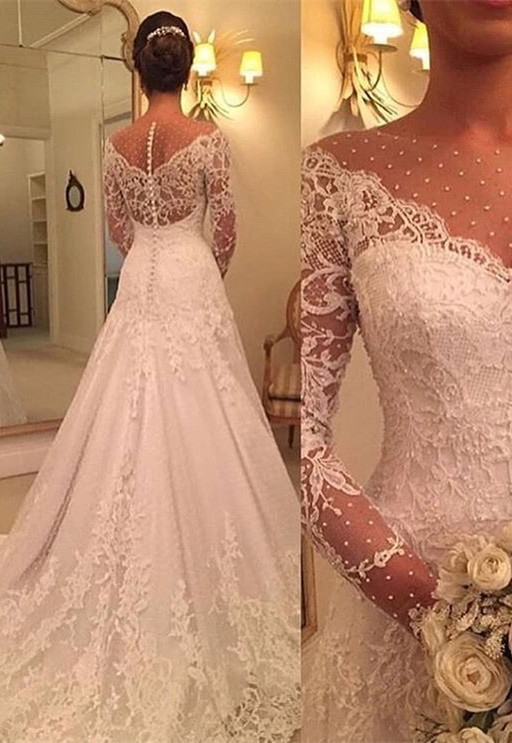 Gorgeous Long Sleeve Lace Wedding Dresses | 2020 Bridal Gowns Zipper Back