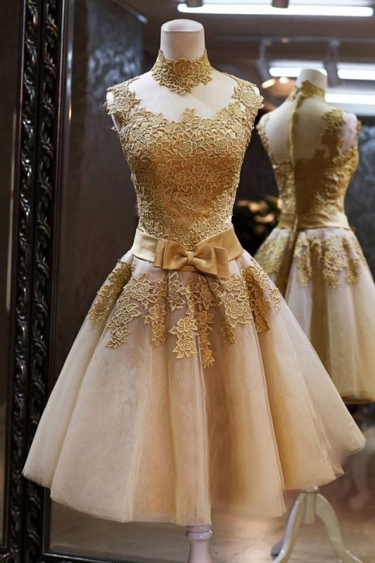 Gorgeous High Neck Sleeveless Golden Appliques Tulle Short Prom Dress