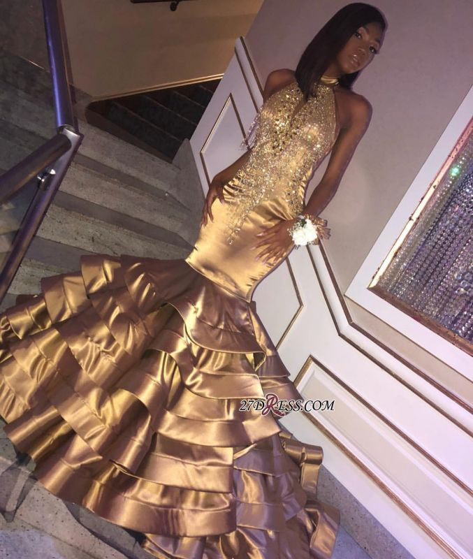 Halter Crystal Ruffles Mermaid Evening Dresses | Gold Sleeveless High Neck Appliques Prom Dresses bk0 bc1604
