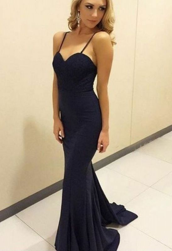 2020 Popular Sweetheart Sleeveless Mermaid Long Prom Gown | Navy Blue Spaghetti Strap Evening Dress On Sale