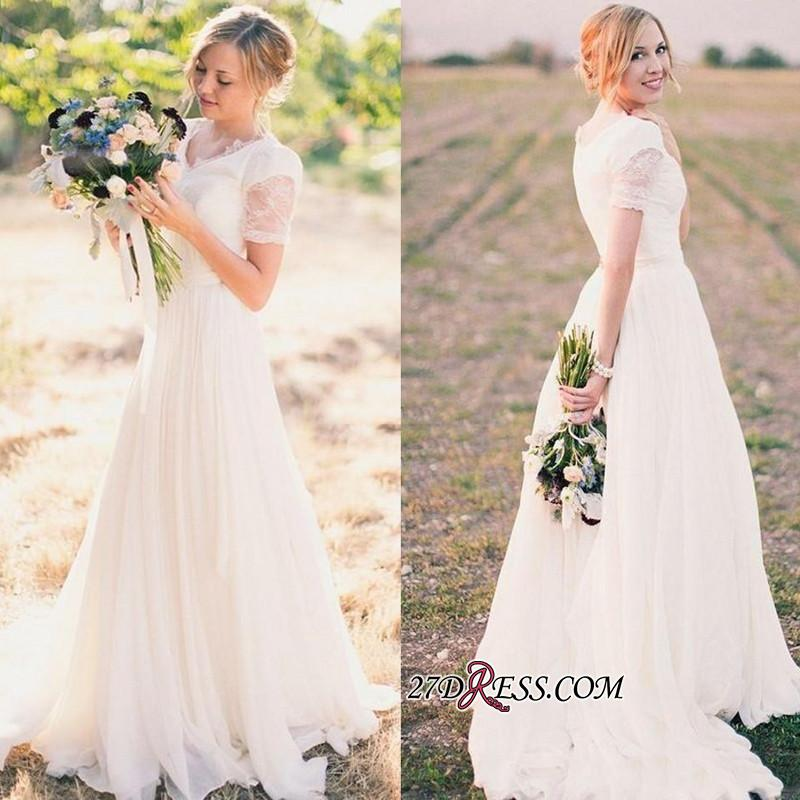 A-line Popular Short-Sleeves V-neck Chiffon Modest Lace Wedding Dresses