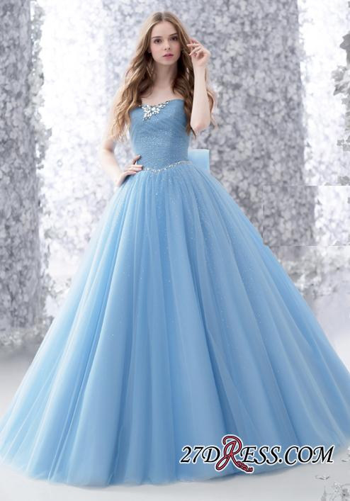 Beads A-line Strapless Tulle Romantic Bow Sleeveless Evening Dress