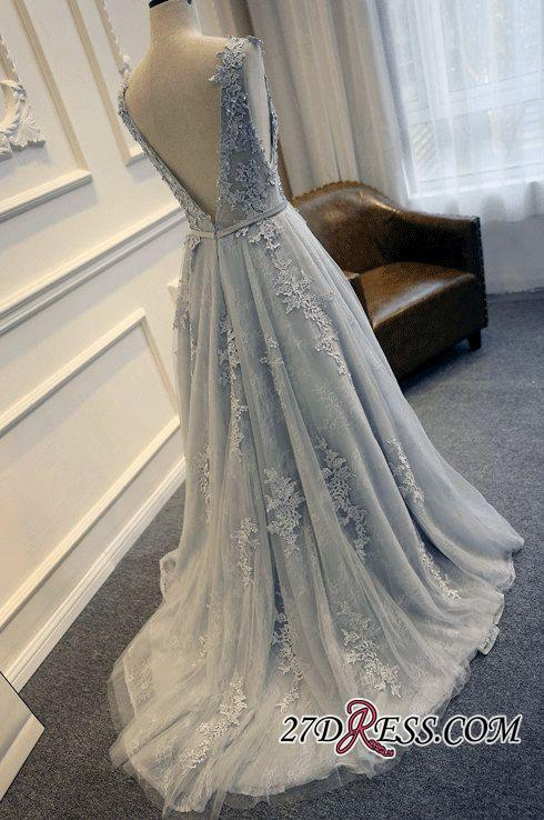 Long A-line Lace-Appliques Backless Sleeveless Prom Dresses BA5343