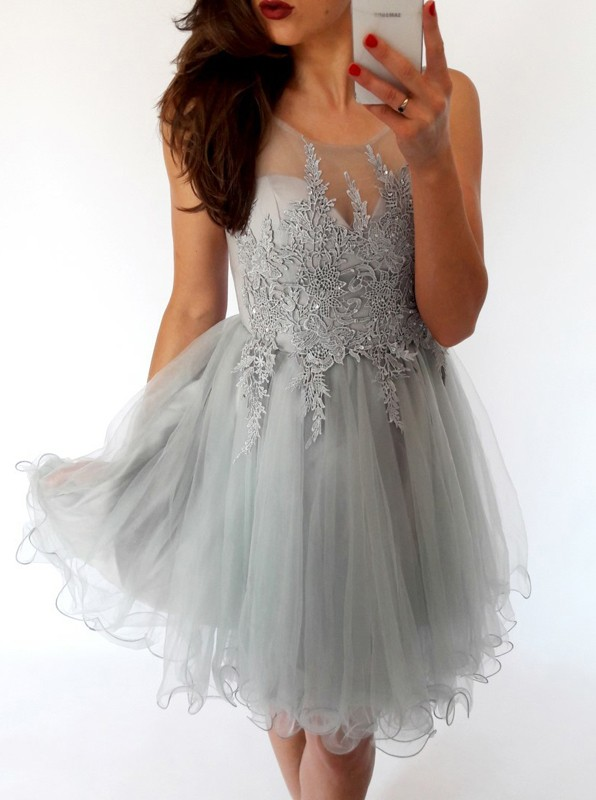 Elegant Sleeveless 2020 Short Homecoming Dress | Lace Tulle Mini Party Dress