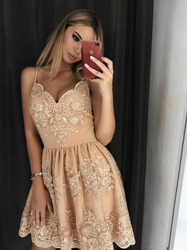 Newest Lace Spaghetti Strap Homecoming Dress | A-line Short Party Gown
